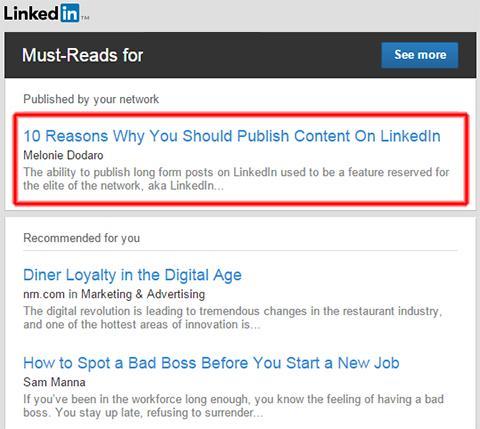 LinkedIn Pulse gửi một email đề xuất các bài viết đáng quan tâm
