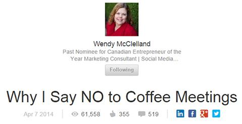 Bài viết của Wendy McClelland, Why I Say NO to Coffee Meetings
