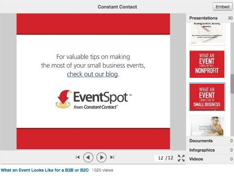 Khi người đọc click chuột vào, họ sẽ đến trang của các bài đăng blog liên quan đến chủ đề được chia sẻ trong SlideShare