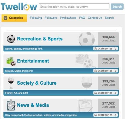 Sử dụng Twellow để tìm và theo dõi những người dùng mục tiêu trong bất kỳ lĩnh vực nào