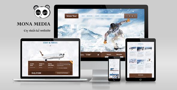 Mẫu website du lịch trượt tuyết.