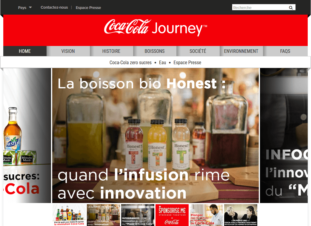 wordpres trên Coca Cola France
