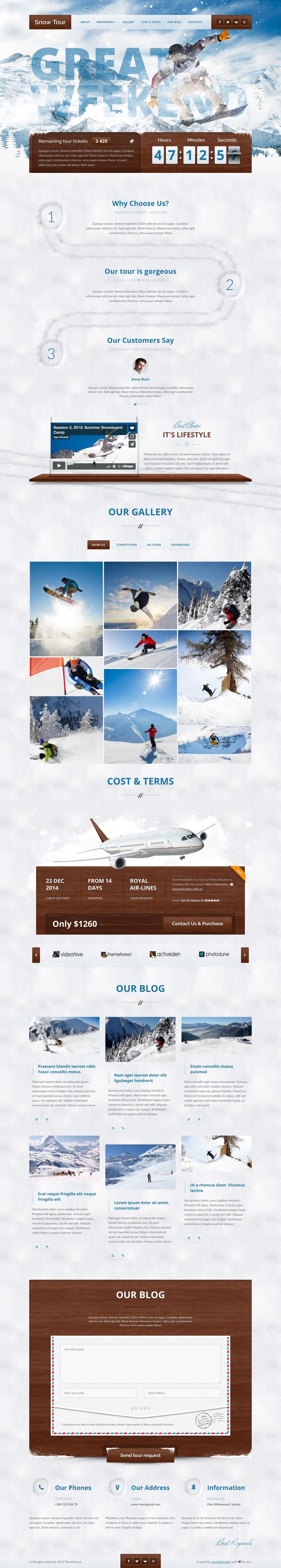 Mẫu website du lịch trượt tuyết