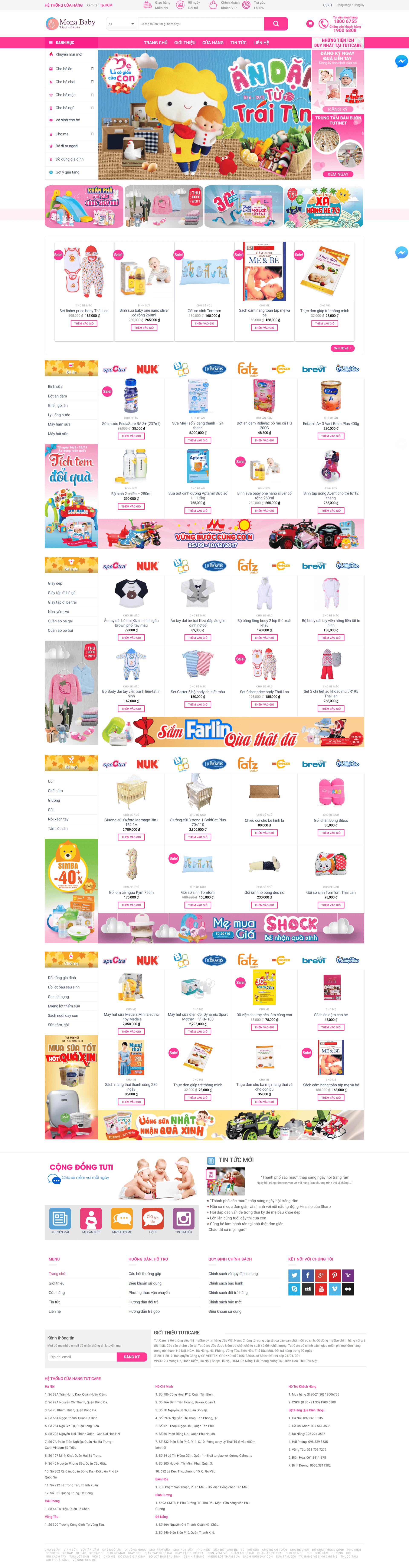 Mẫu website bán hàng mẹ và bé giống Tuticare