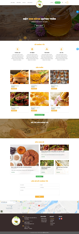 Mẫu website bán nông sản giống Natural Honey