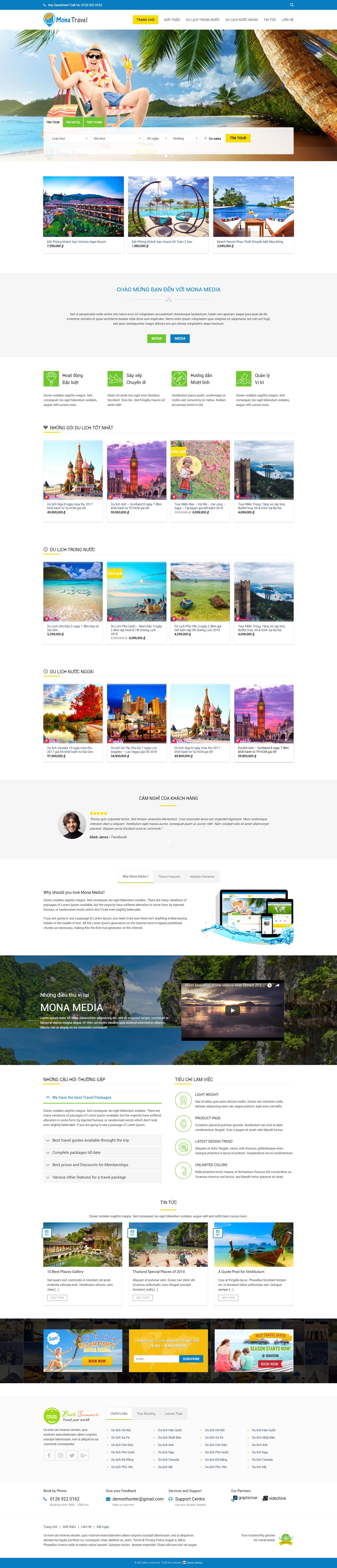 Mẫu website dịch vụ du lịch giống Trendy Travel