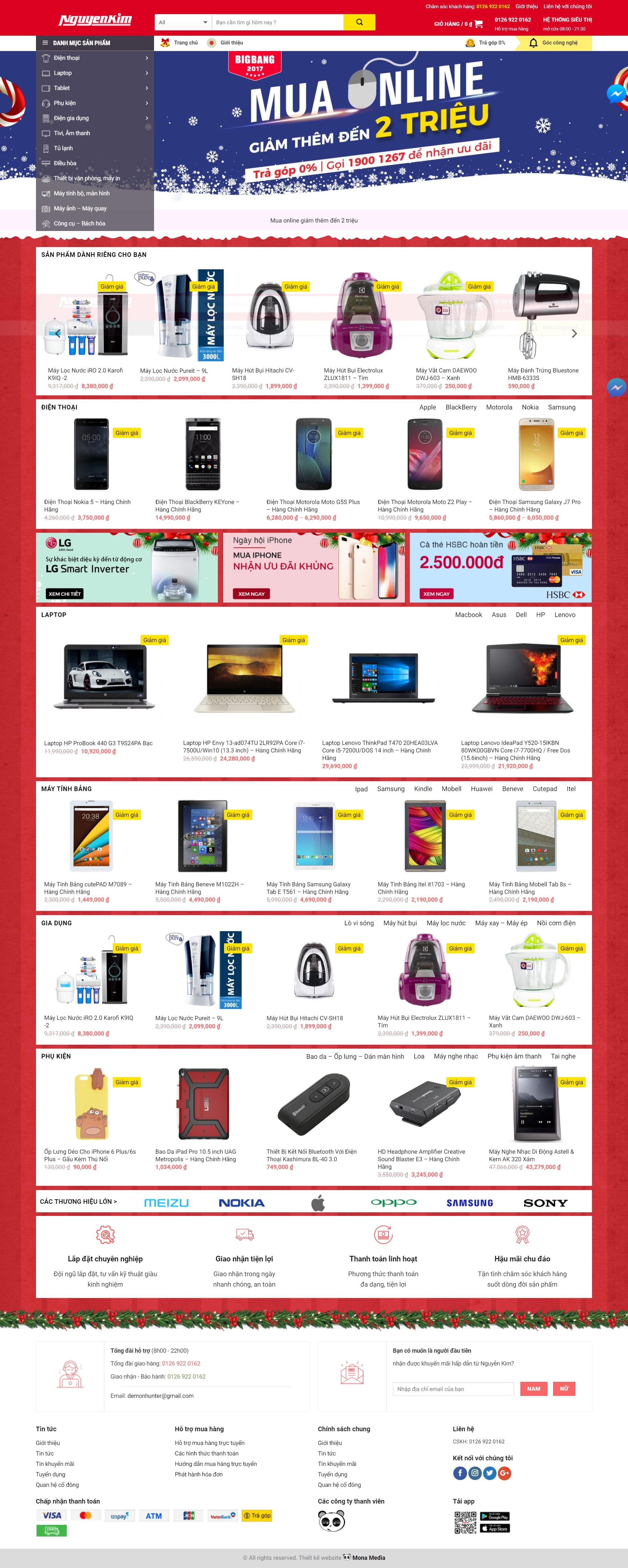 Mẫu website bán hàng điện máy giống Nguyễn Kim