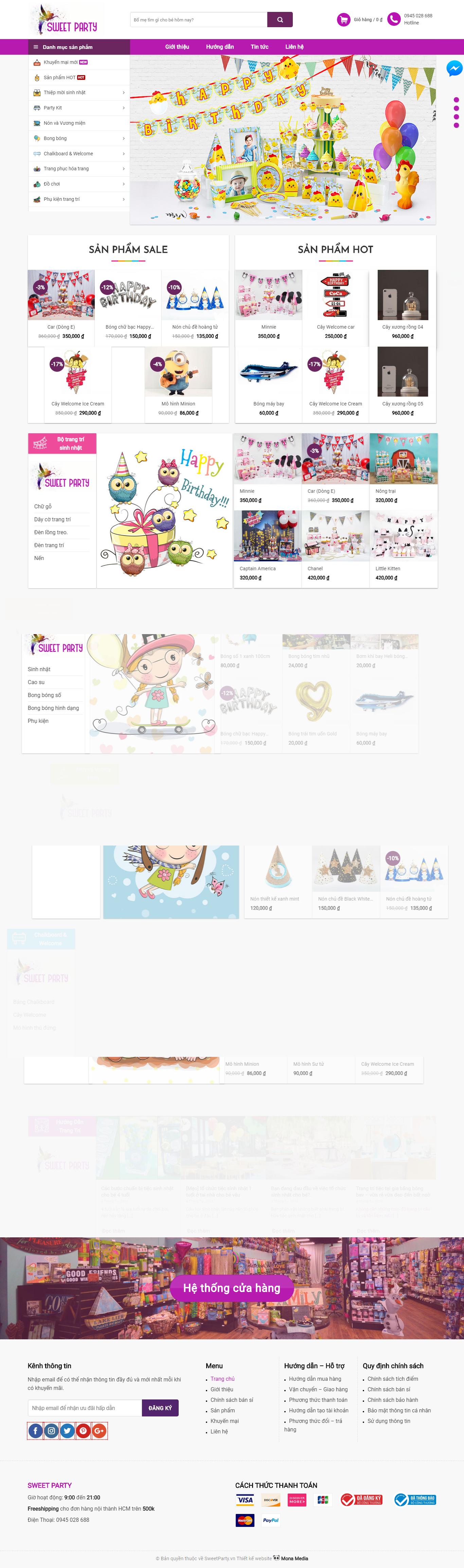 Mẫu Website Sweet Party