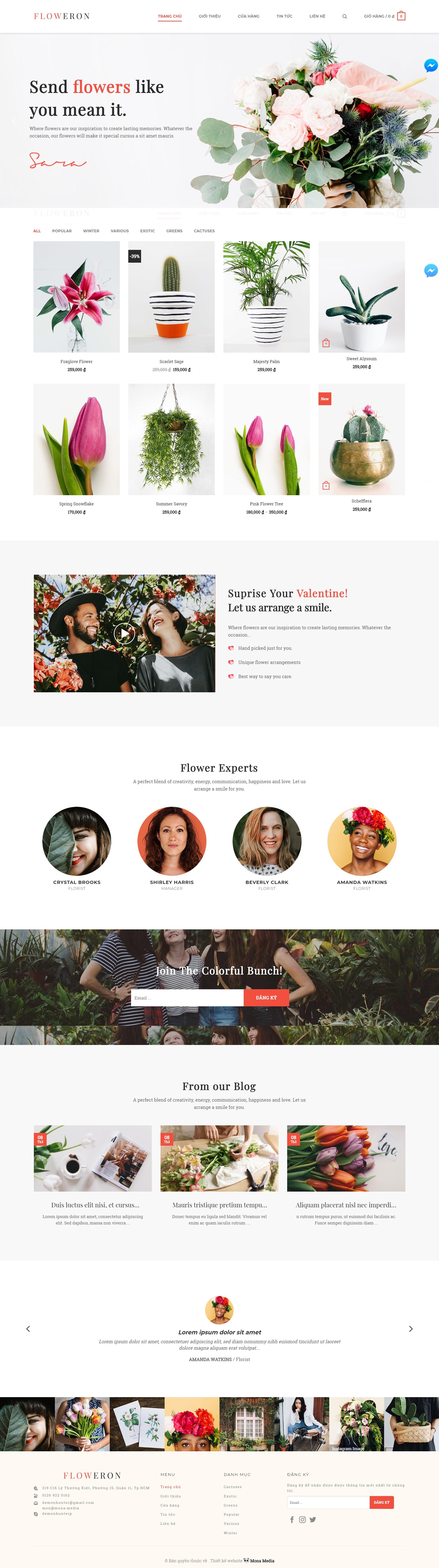 Mẫu website bán hoa cây cảnh giống Fiorello