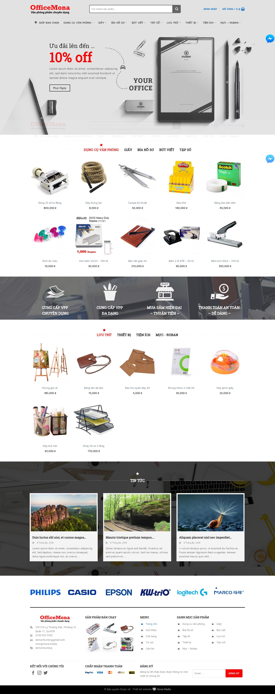 Mẫu website bán hàng văn phòng phẩm giống Officexinh