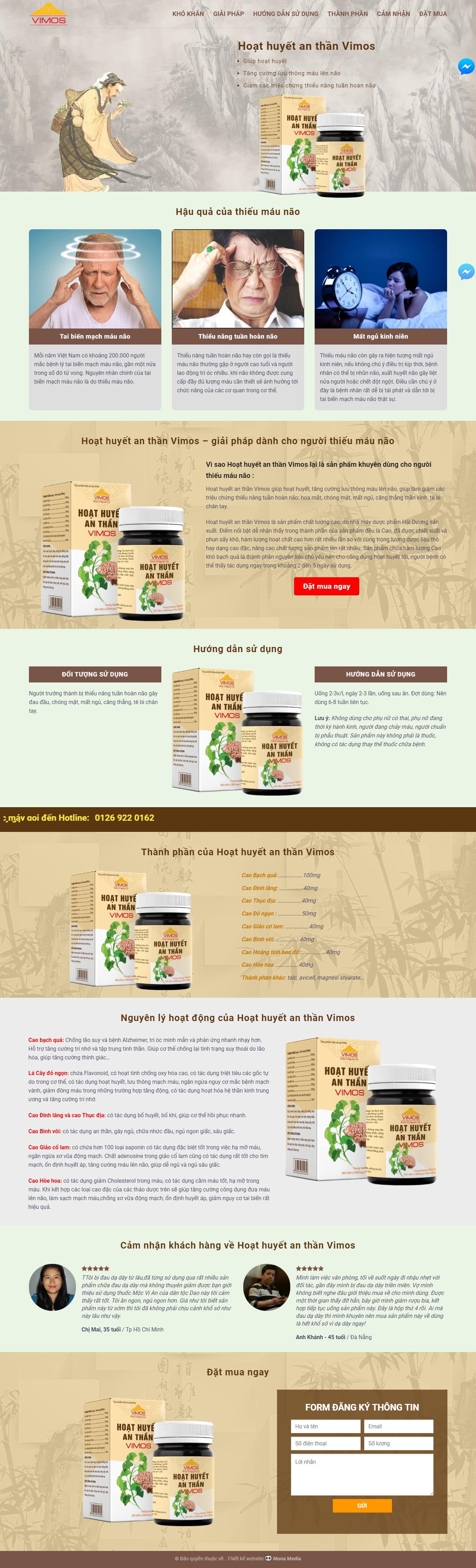 Mẫu website landing page giới thiệu sản phẩm đông y Vimos