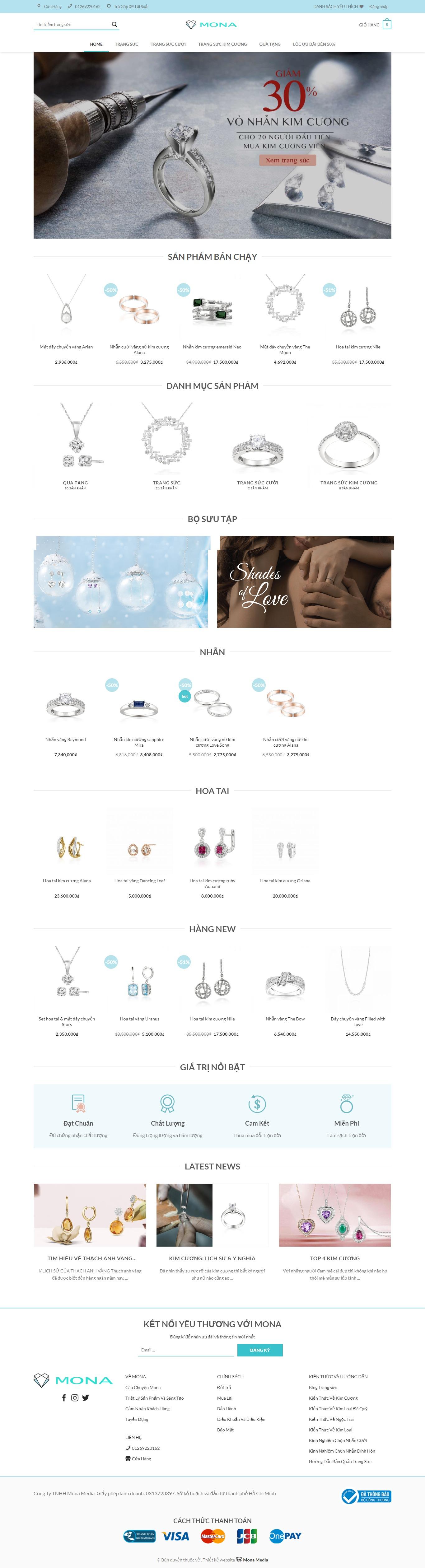 Mẫu website bán trang sức kim cương.
