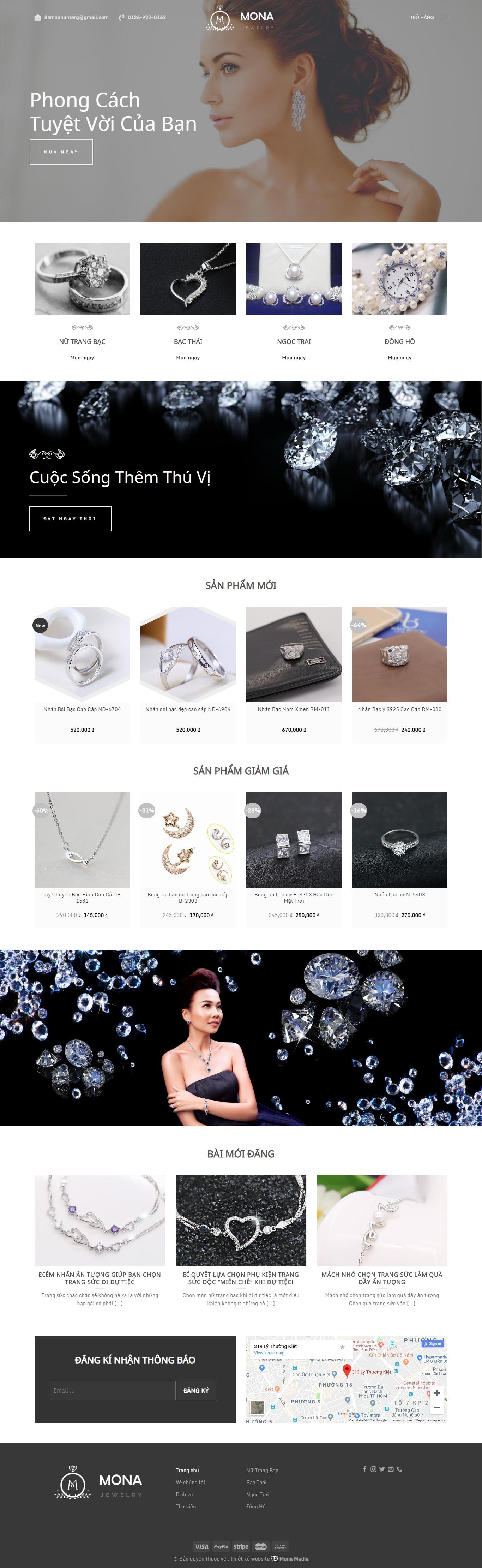 Mẫu website bán trang sức bạc.