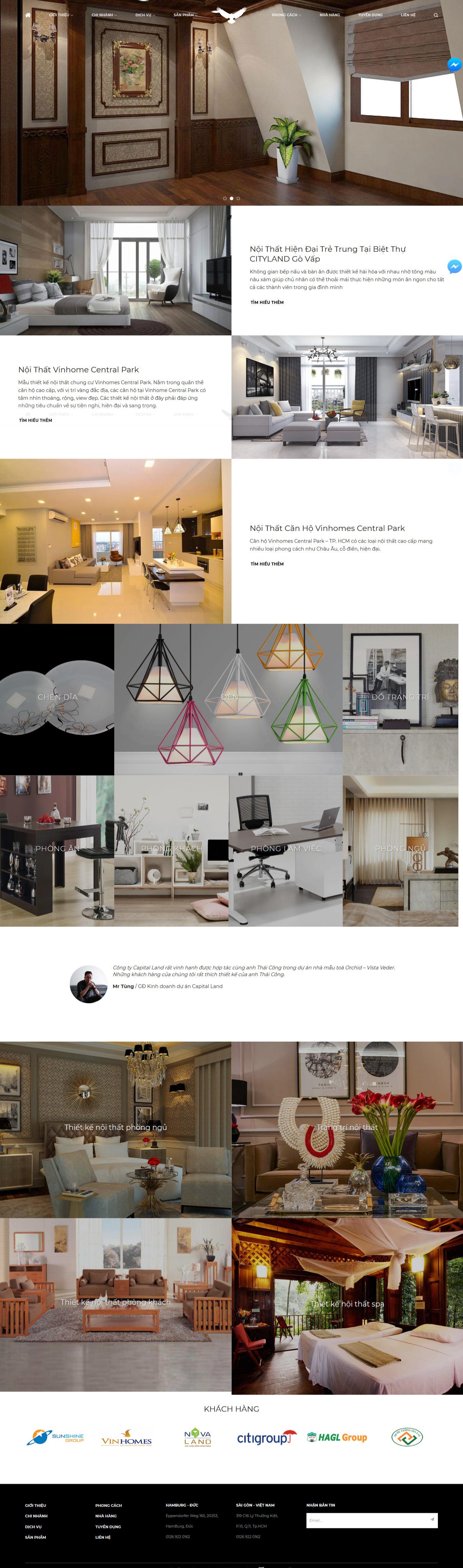 Mẫu website thiết kế nội thất kiến trúc sư