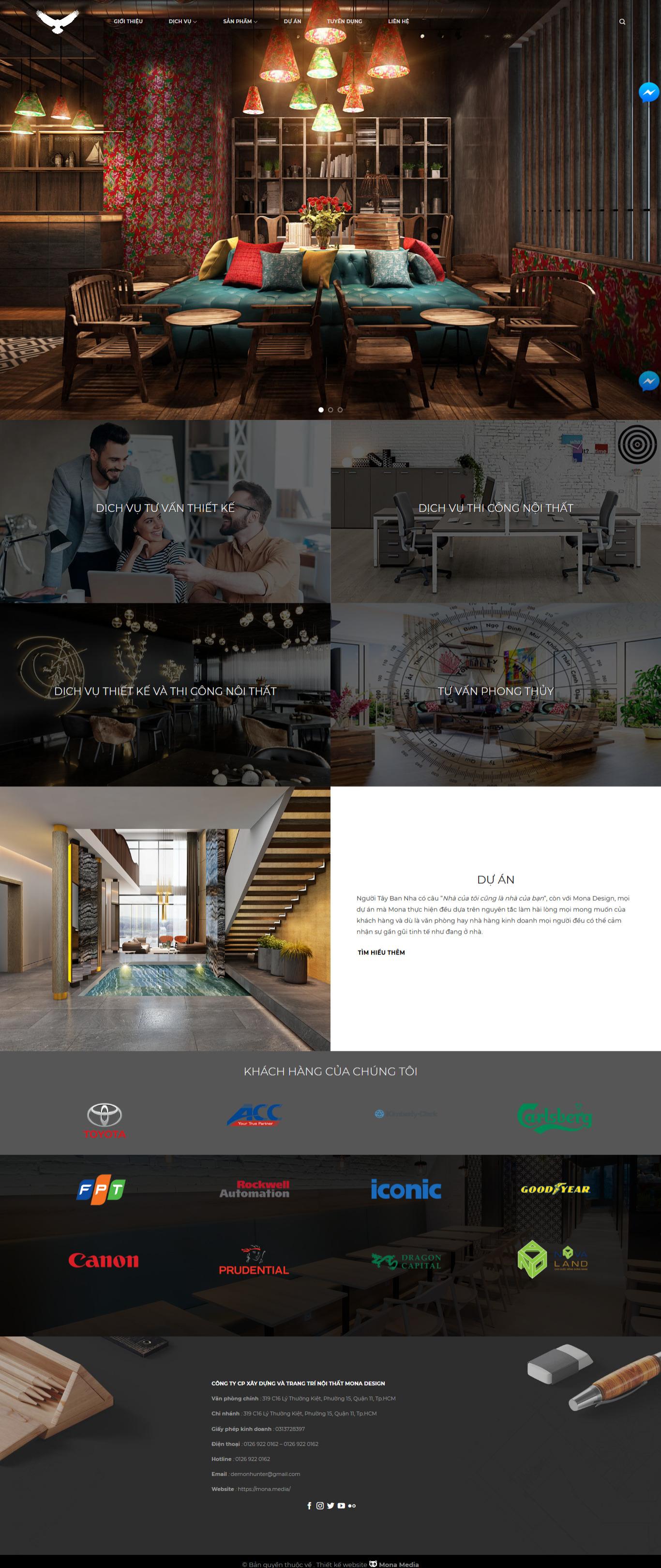 Mẫu website thiết kế nội thất MonaDesign