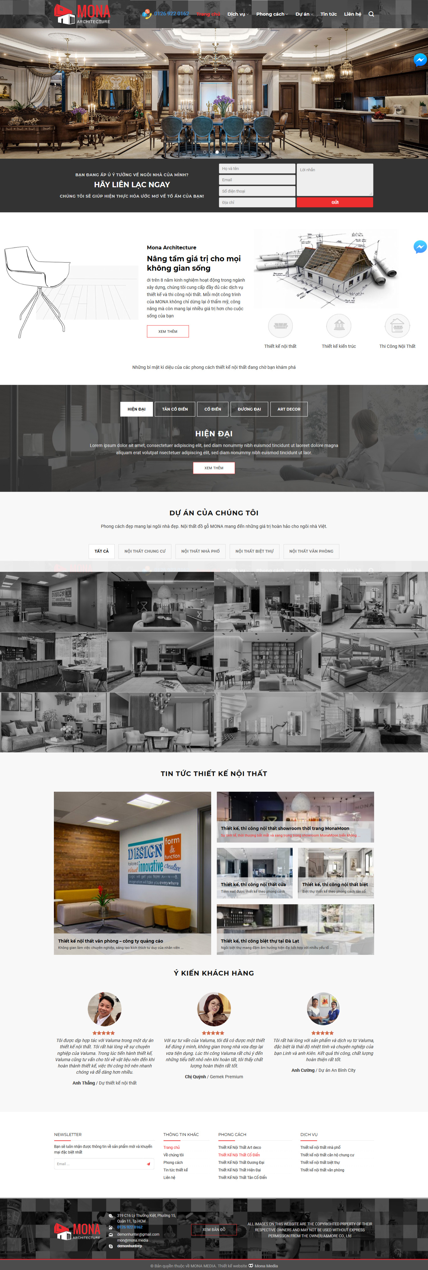 Mẫu website thiết kế nội thất giống amore-architecture