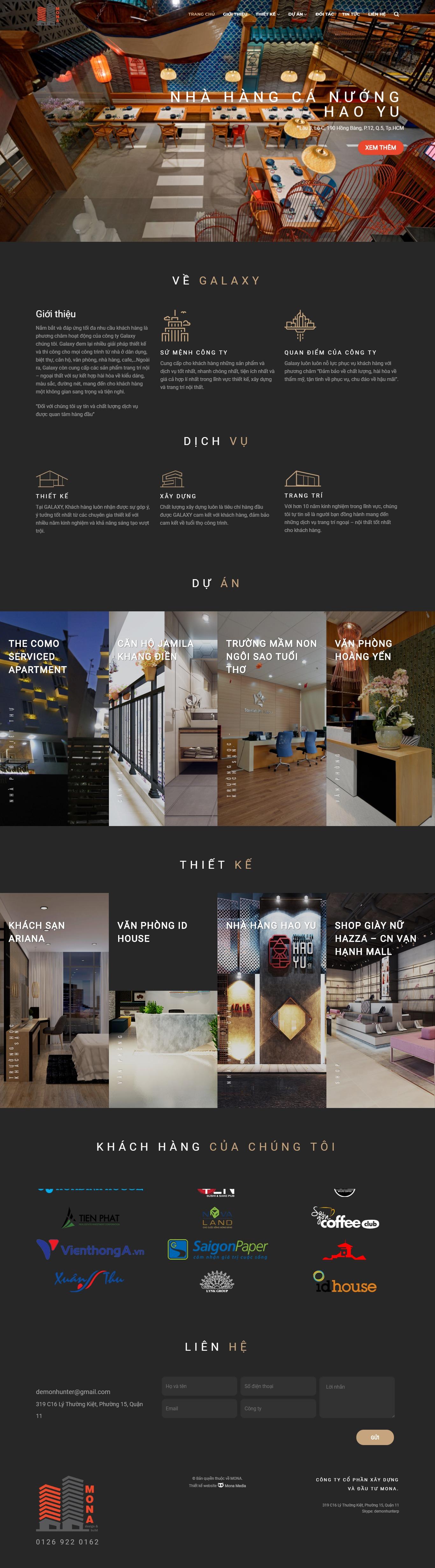 Mẫu website thiết kế nội thất giống galaxycons