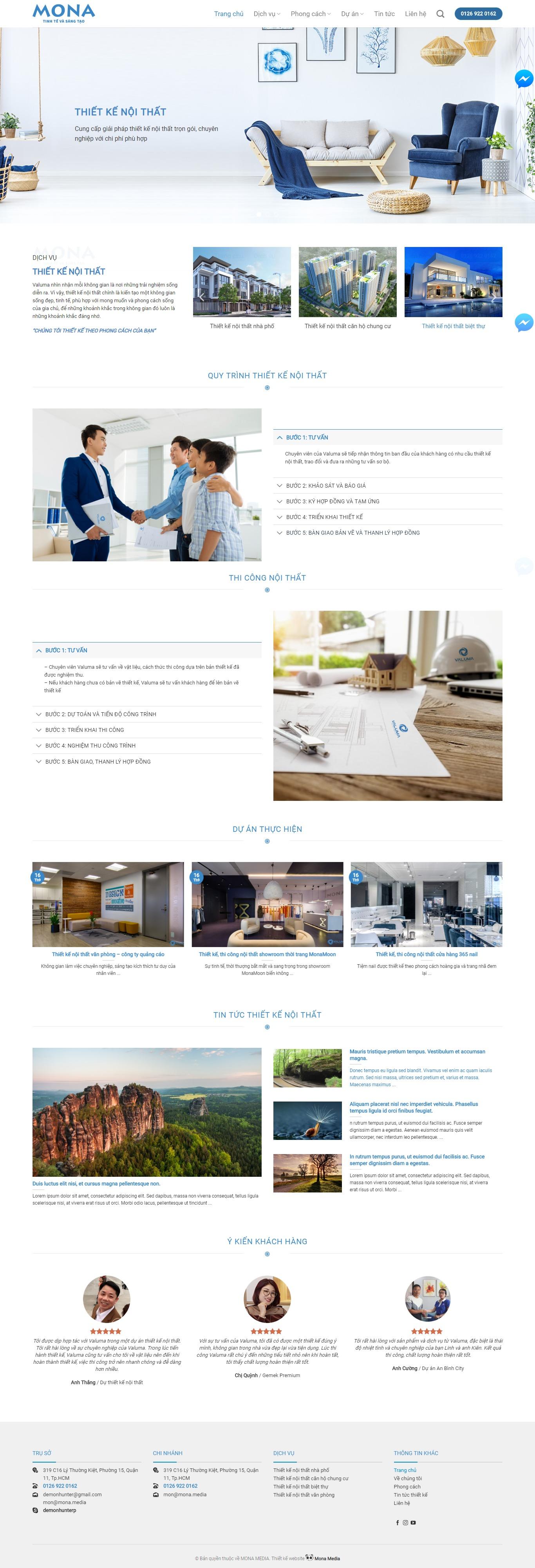 Mẫu website thiết kế nội thất giống valuma