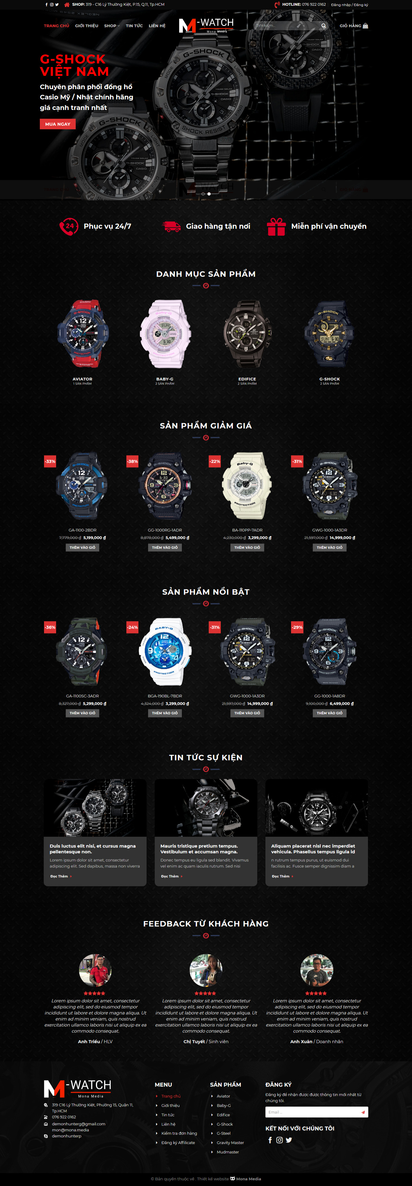Mẫu website bán đồng hồ G-watch