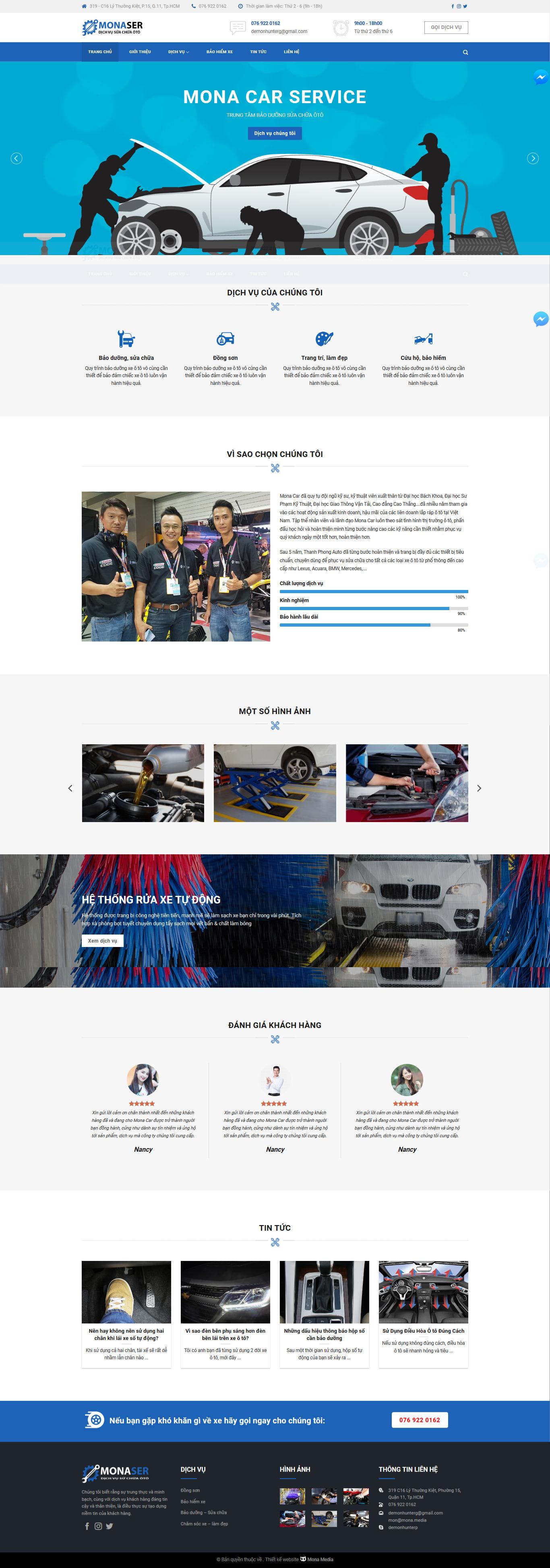 Mẫu website trung tâm bảo hành, sửa chữa xe hơi