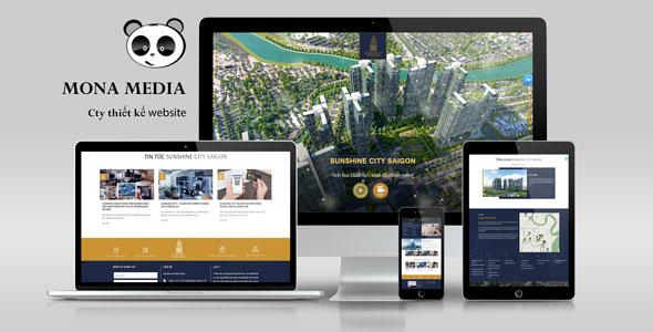Mẫu website giới thiệu công ty thiết kế địa ốc chuyên nghiệp giống Sunshine City.