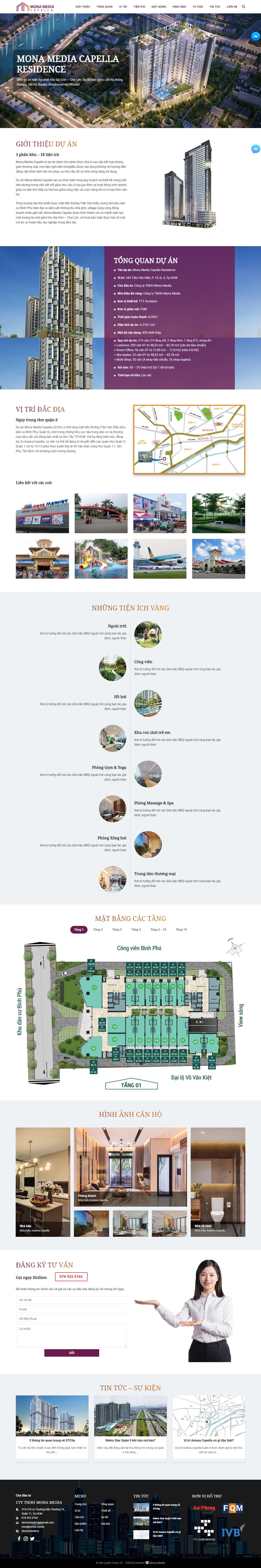Mẫu landing page giới thiệu căn hộ chung cư giao diện tương tự Asiana  Capella