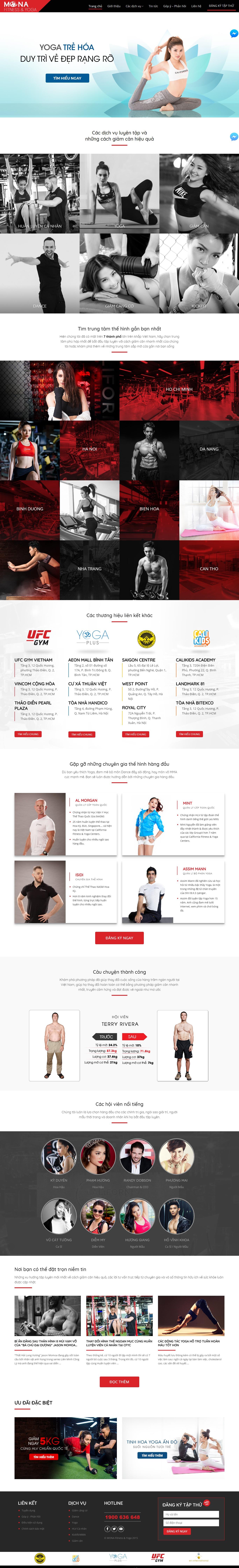 Mẫu website giới thiệu Fitness & Yoga Center giao diện tương tự California