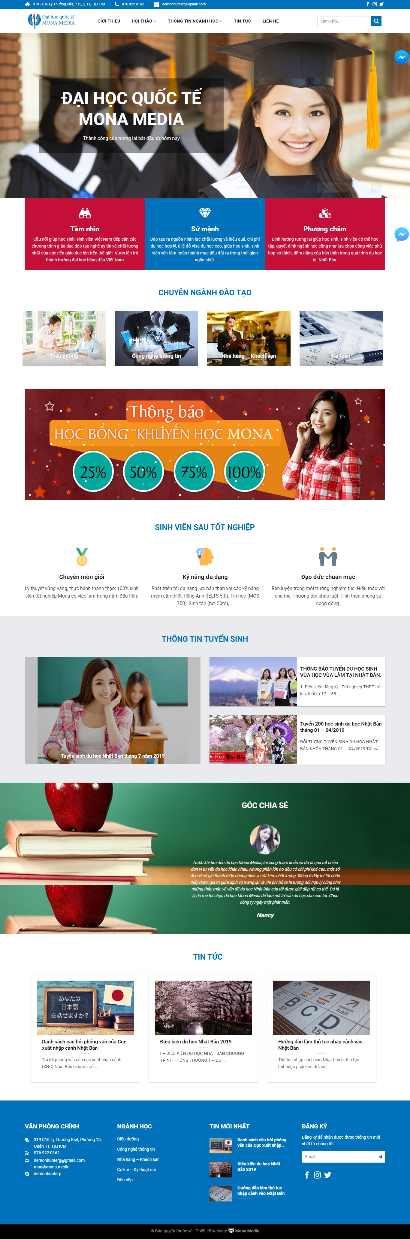 Mẫu website trường học giao diện