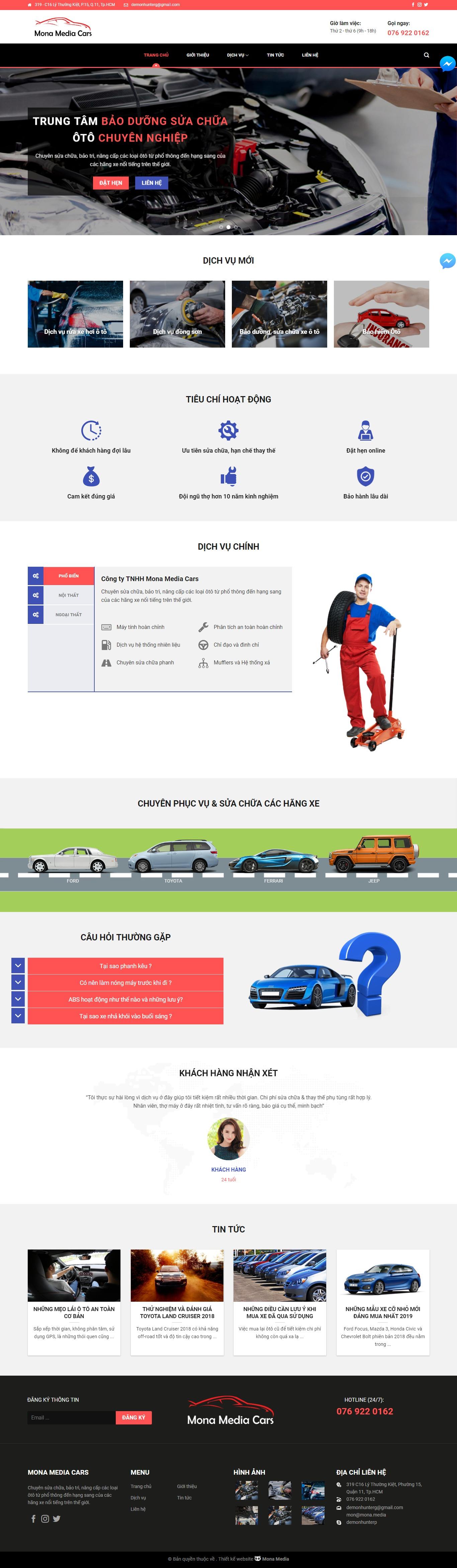 Mẫu website giới thiệu trung tâm bảo hành – bảo dưỡng ô tô Cardinal