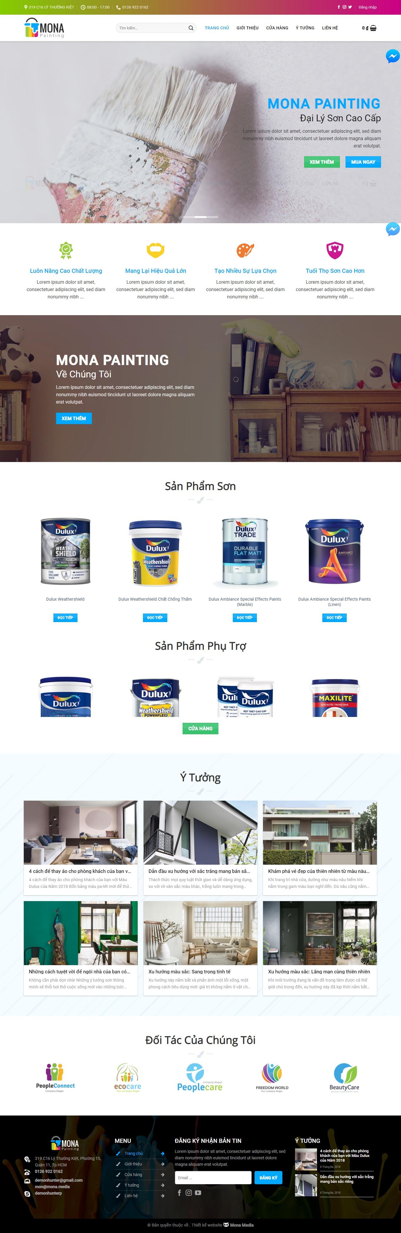 Mẫu website bán sơn nước giống Dulux