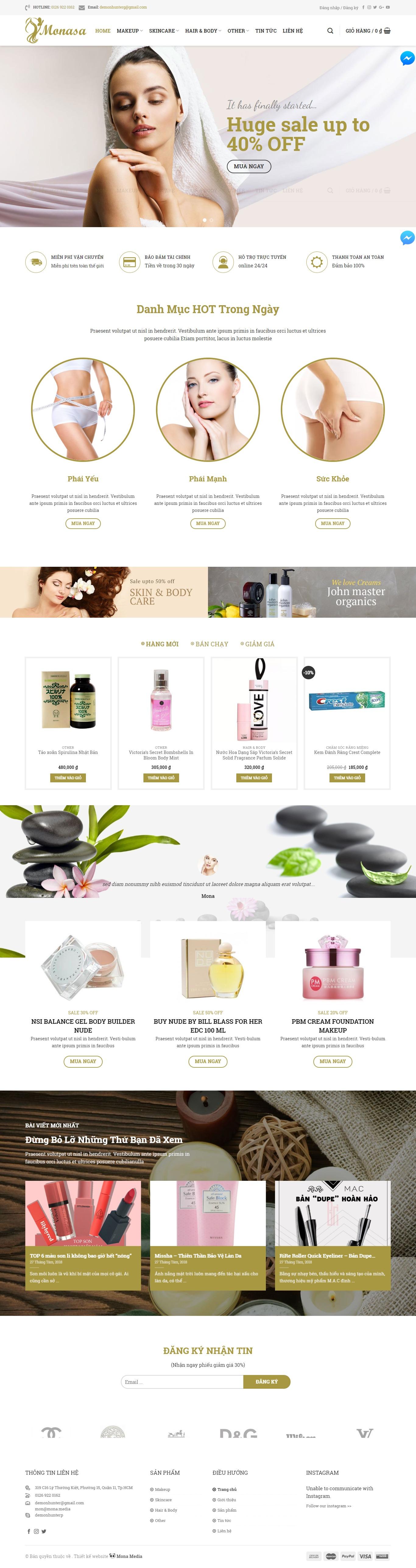 Mẫu website bán hàng mỹ phẩm giống Harosa