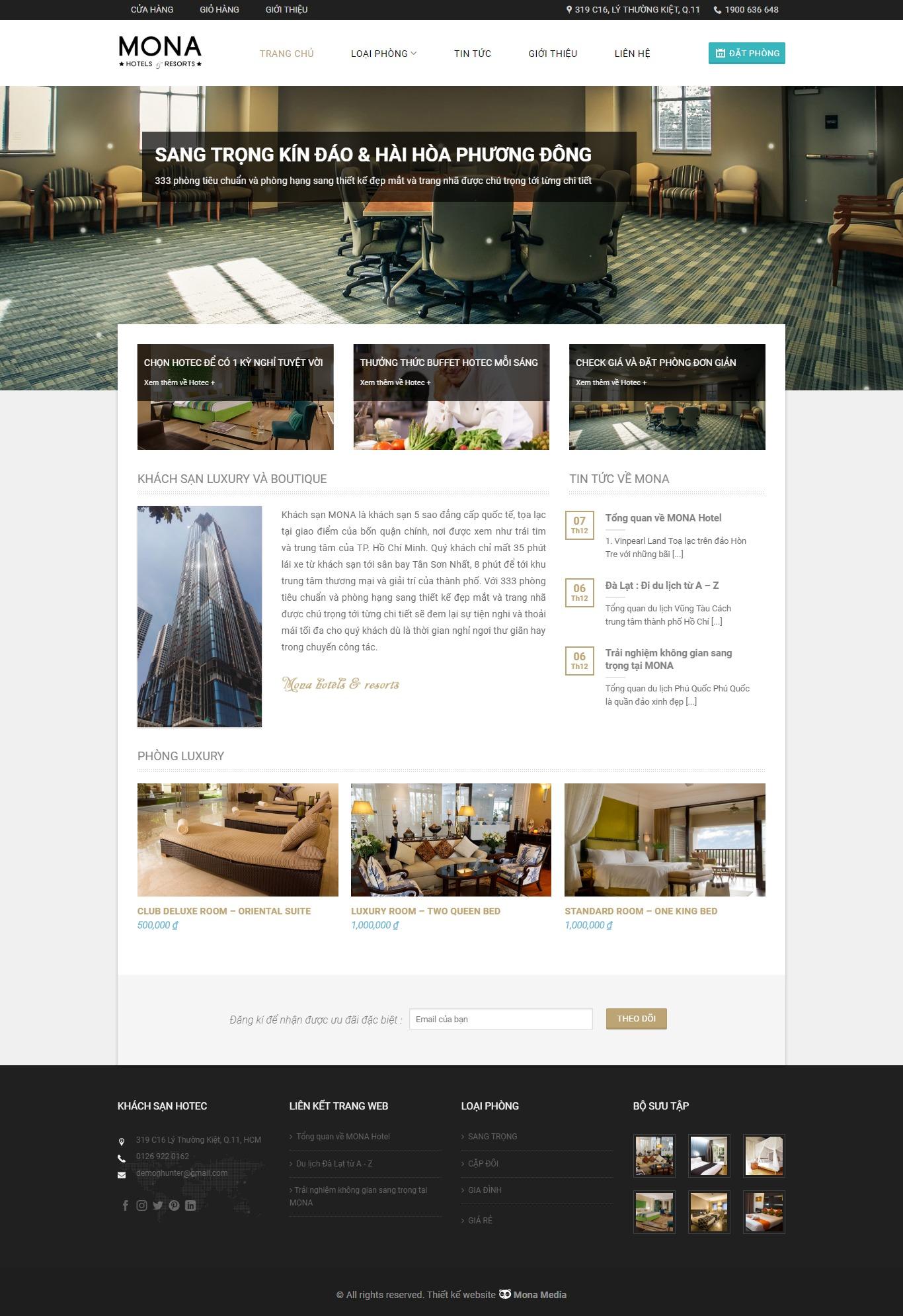 Mẫu website giới thiệu hotel và resort giống Hotec