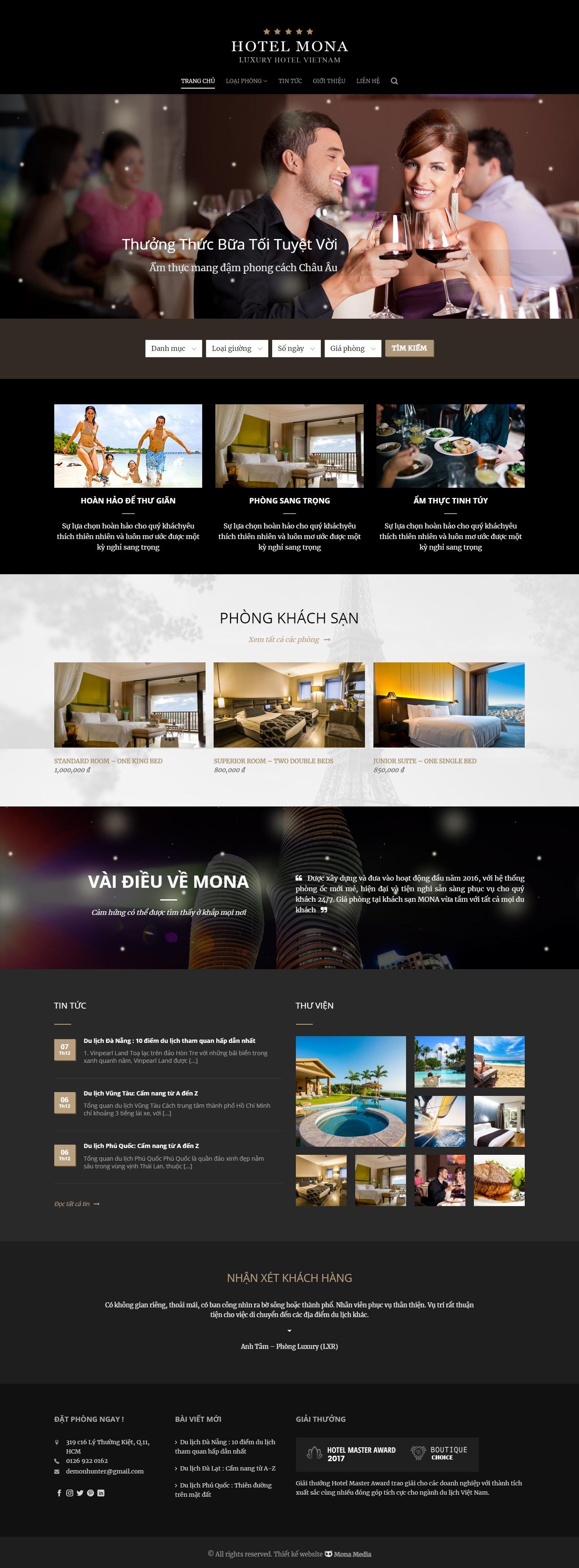 Mẫu website giới thiệu hotel giống HotelMaster