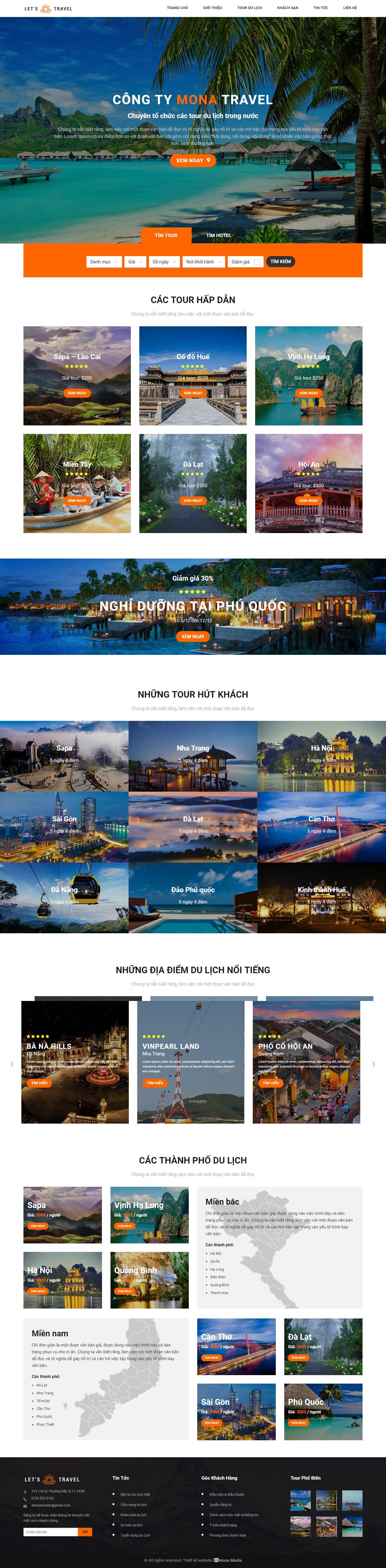 Làm web du lịch giống Lets-Travel