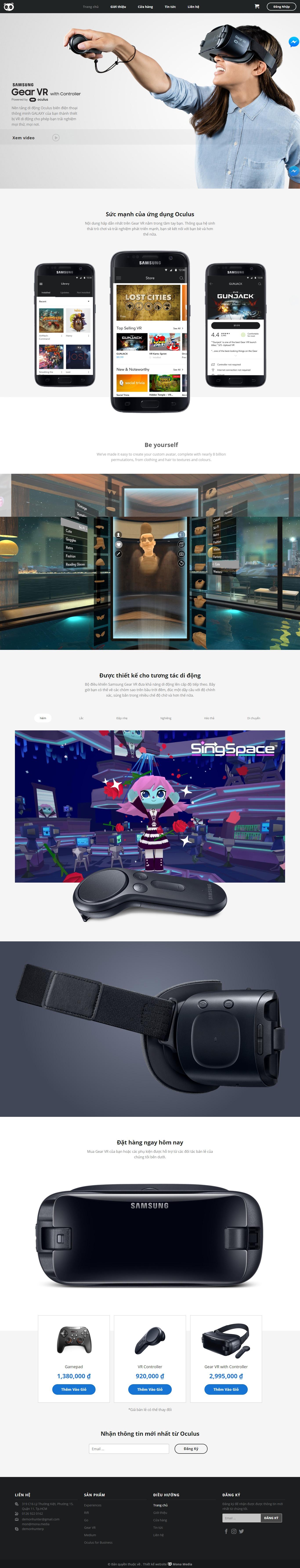 Mẫu website bán kính VR.