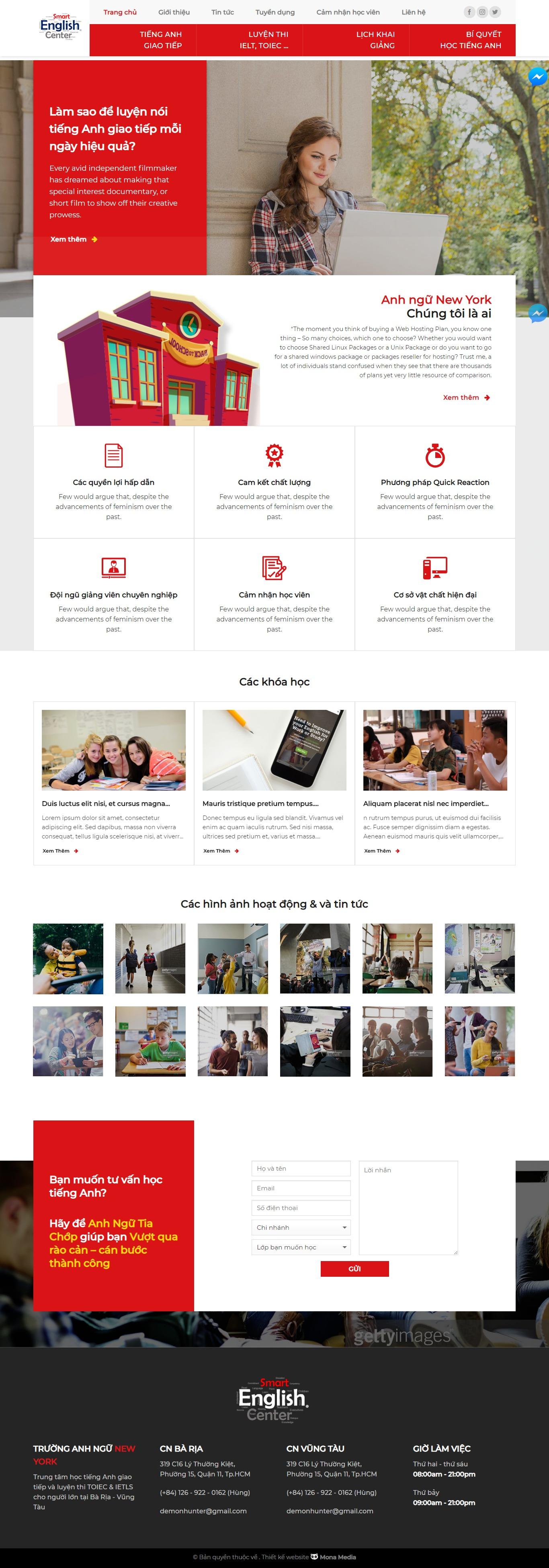 Mẫu website giới thiệu trung tâm anh ngữ giao diện tương tự Newyork
