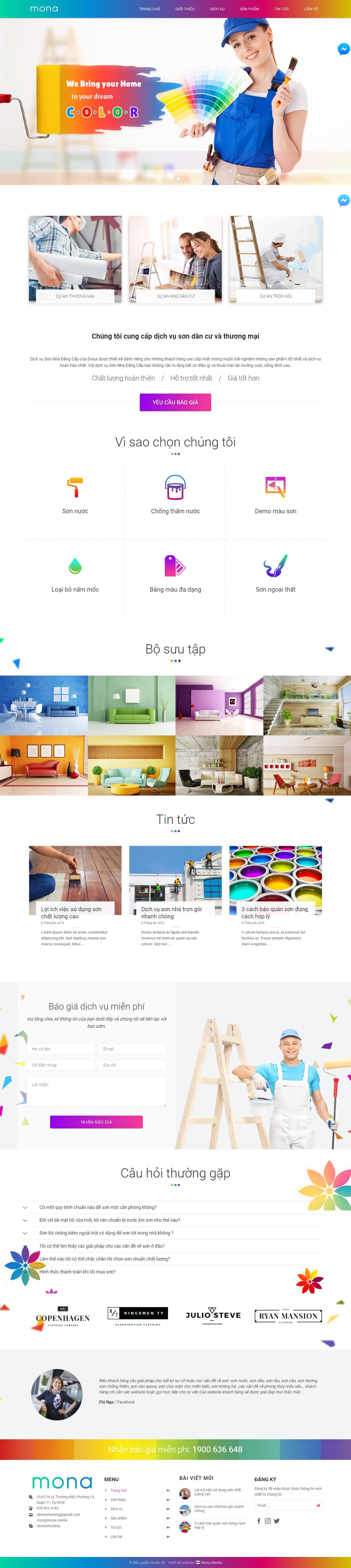 Mẫu website dịch vụ sơn sửa nhà
