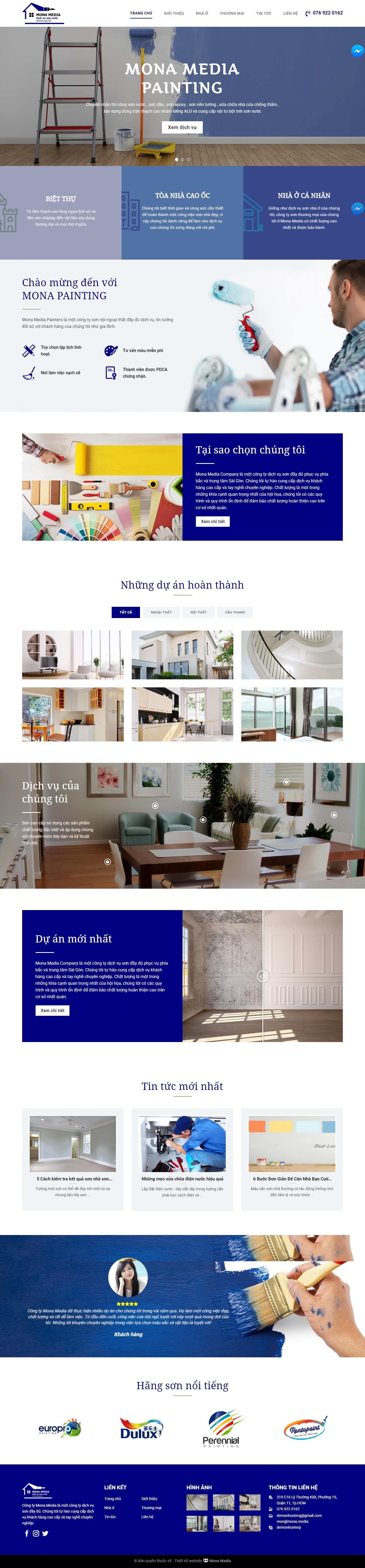 Mẫu website thi công sơn nội ngoại thất
