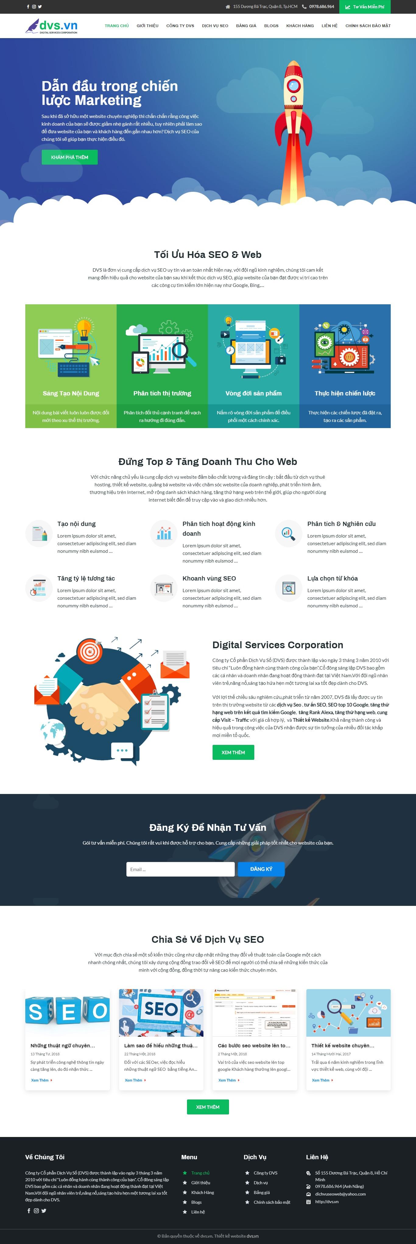 Mẫu website giới thiệu công ty SEO giống DVS