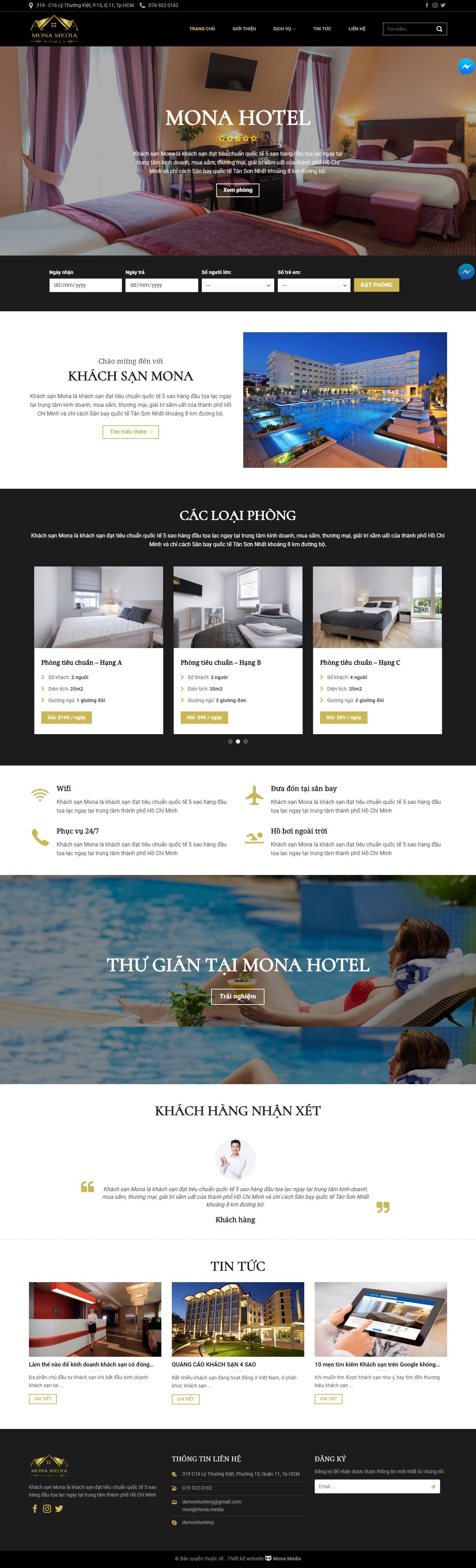 Mẫu website hotel giao diện tương tự Sohohotel