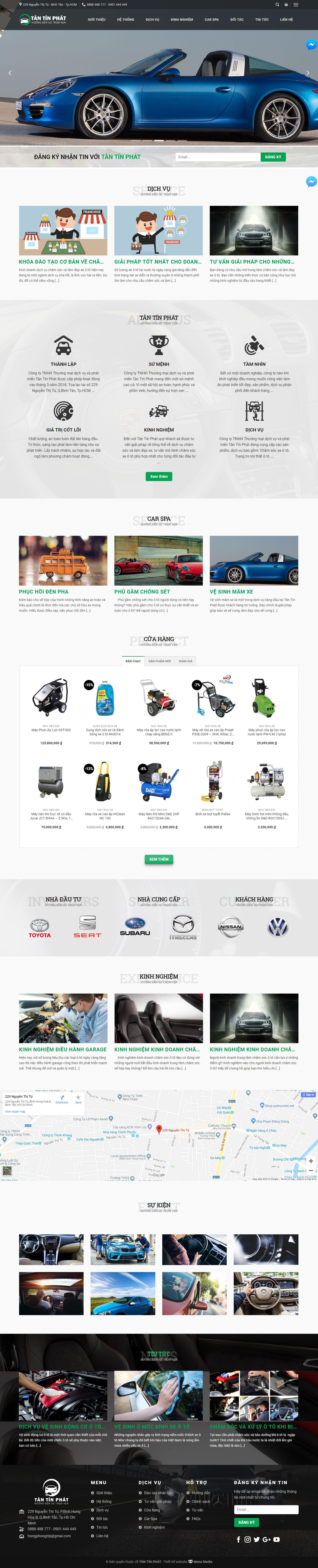 Mẫu website dịch vụ chăm sóc xe ô tô giống Tân Tín Phát