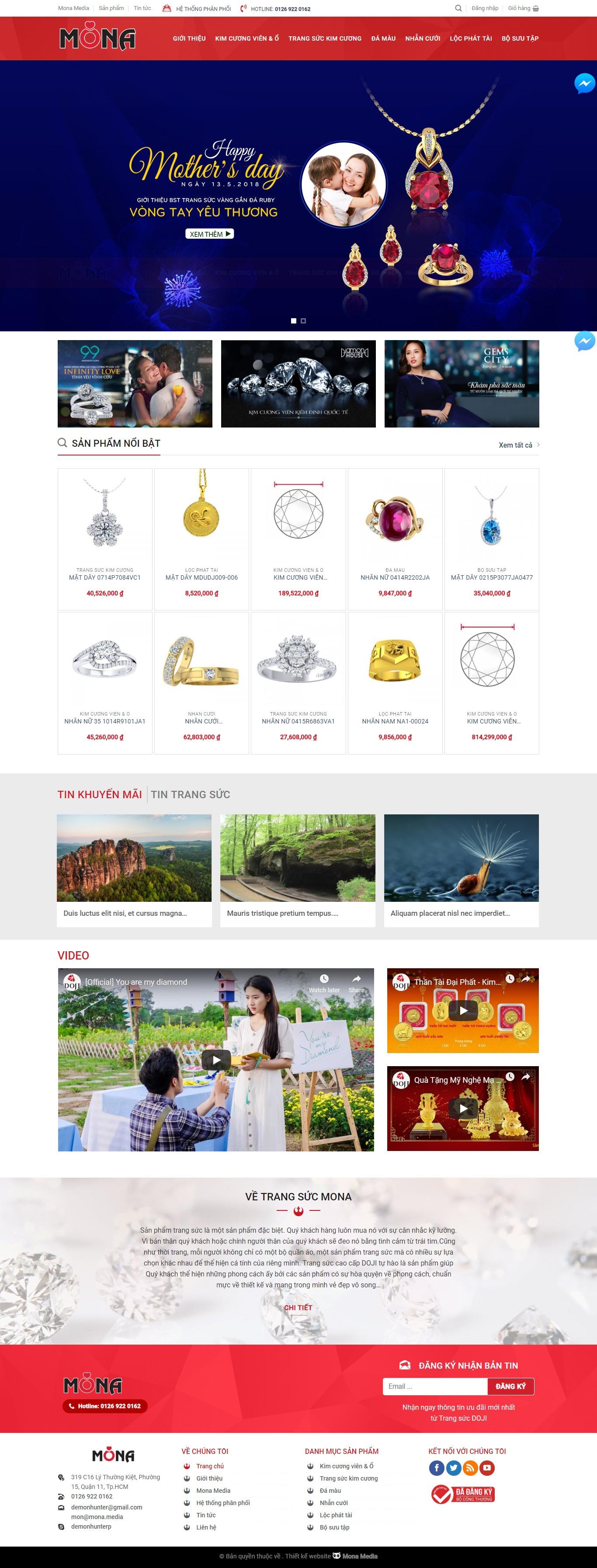 Mẫu website bán trang sức giao diện tương tự Doji