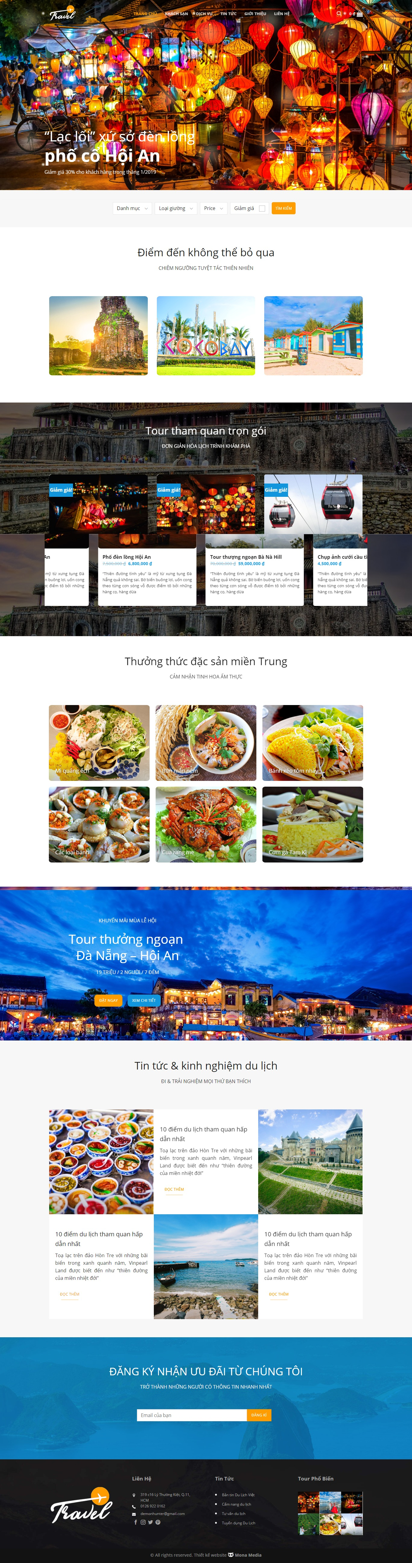 Mẫu website du lịch giống Travelvn