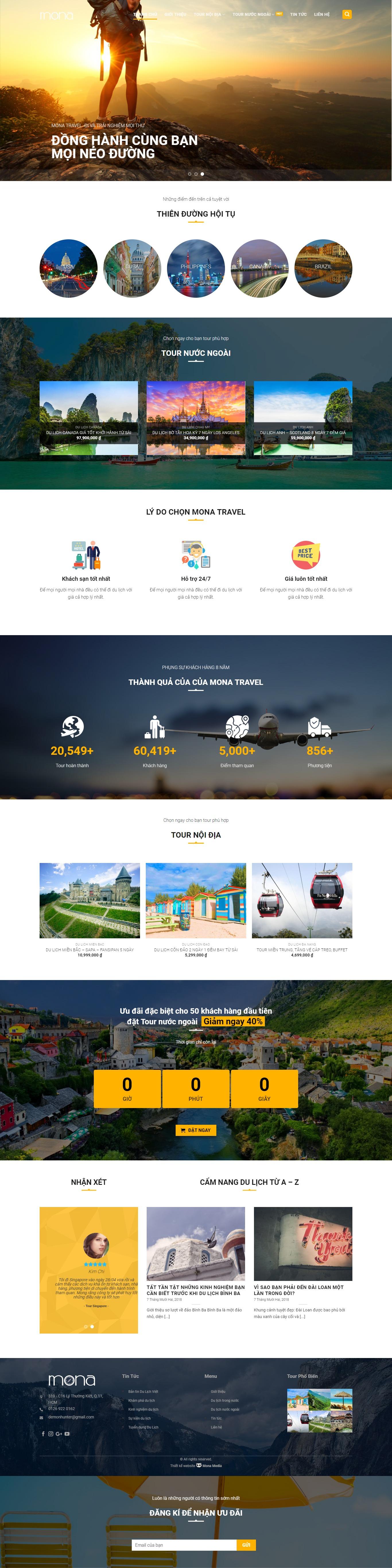Mẫu website tour du lịch trong nước - quốc tế.