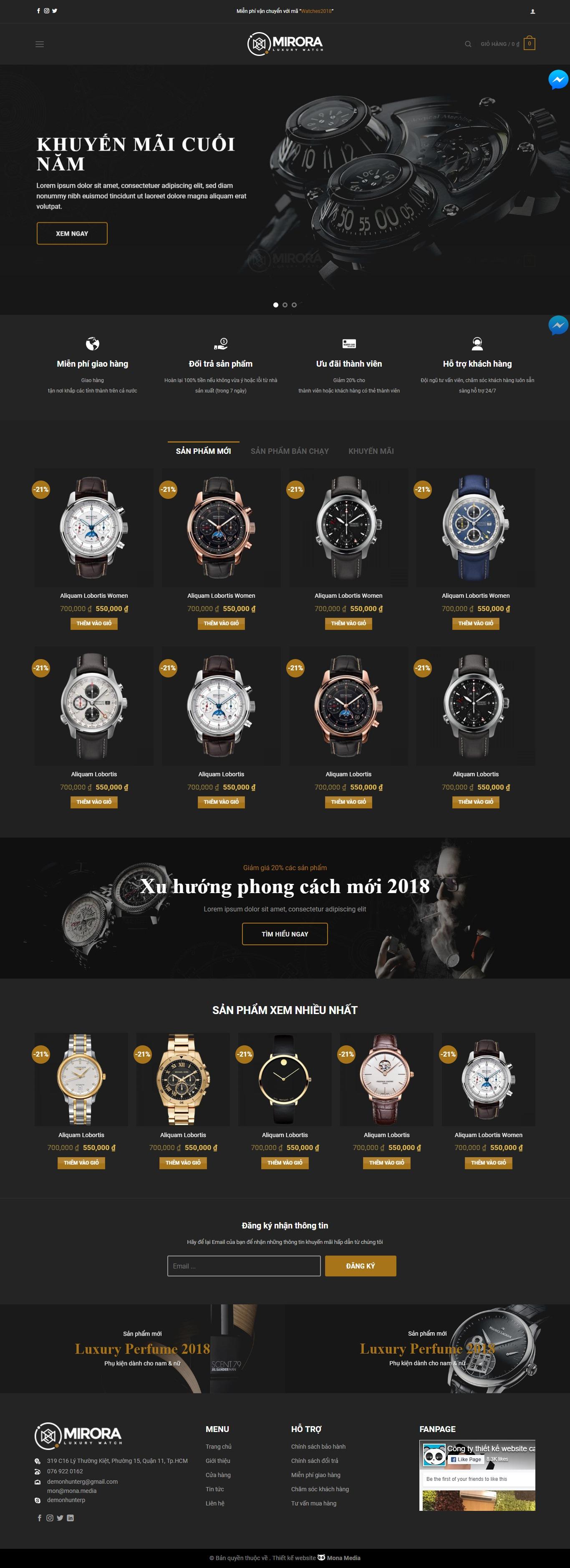 Mẫu website bán đồng hồ giống Mirora