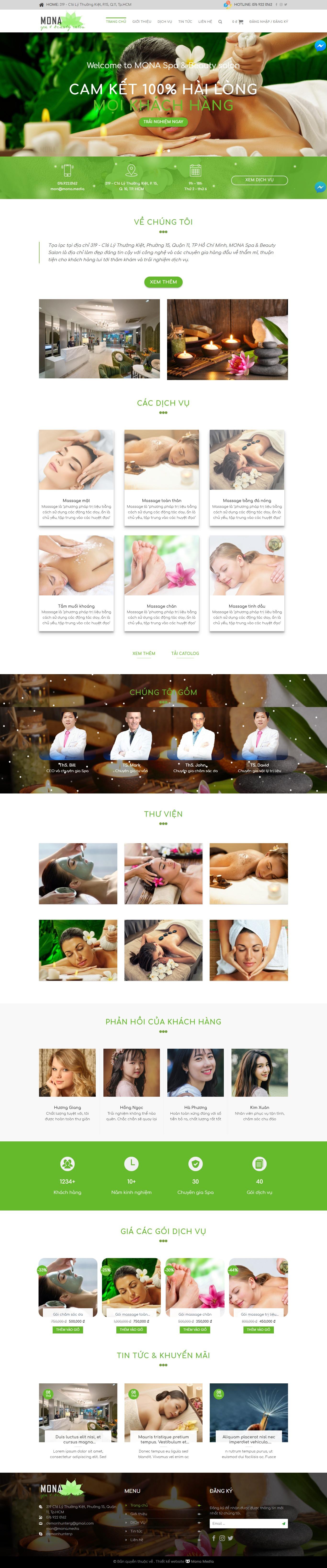 Mẫu website giới thiệu spa cao cấp