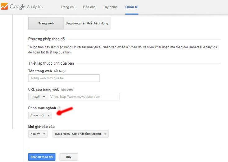 đăng ký tài khoản google analytics.