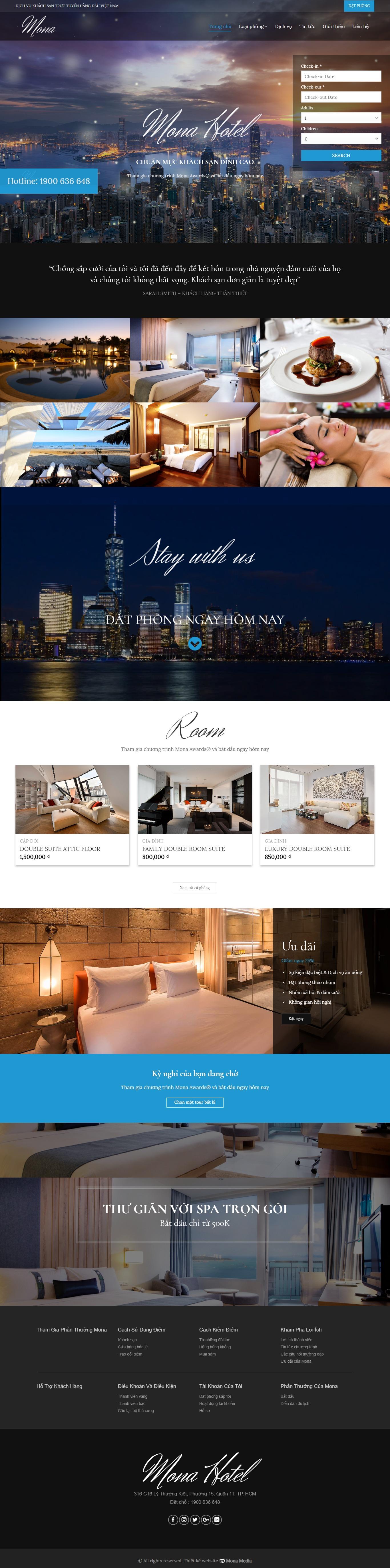 Mẫu website dịch vụ khách sạn – khu nghỉ dưỡng Encore