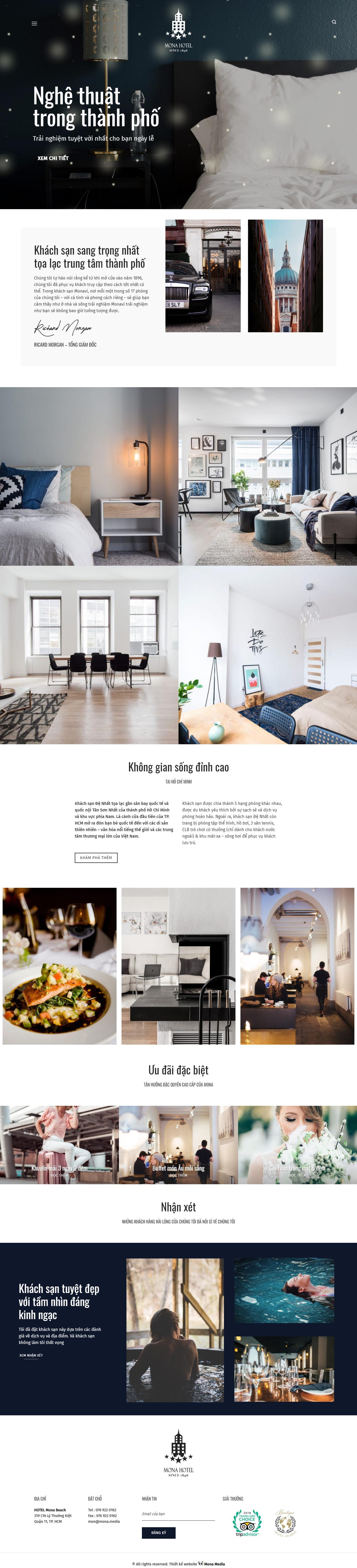 Mẫu website giới thiệu khách sạn giao diện tương tự LuxuryHotel