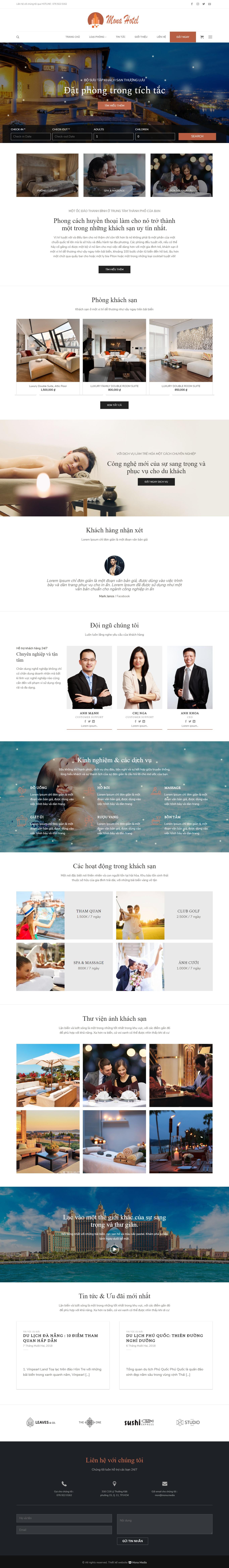 Mẫu website giới thiệu khu nghỉ dưỡng giao diện